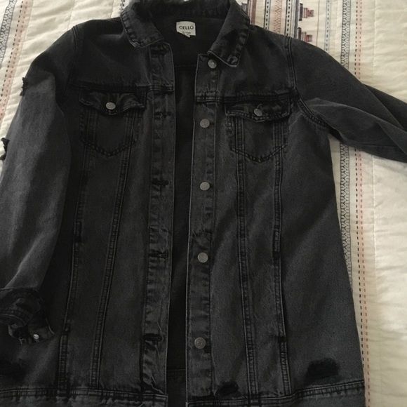 cae40f6a2cb Cello distressed black wash denim jacket